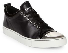 Lanvin Leather Low-Top Cap Toe Sneakers $650 thestylecure.com