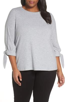Vince Camuto Tie Sleeve Brush Jersey Top