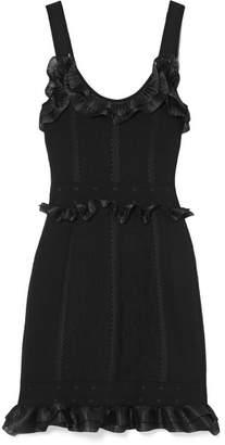 Alexander McQueen Ruffled Organza-trimmed Jacquard-knit Mini Dress - Black
