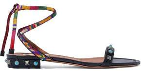 Valentino Lace-up Studded Embroidered Leather Sandals
