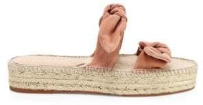 Loeffler Randall Women's Daisy Bow Suede Espadrille Slides - Coral - Size 5 Sandals