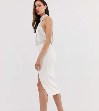 Asos Tall DESIGN Tall Embellished Top Halter Midi Pencil Dress
