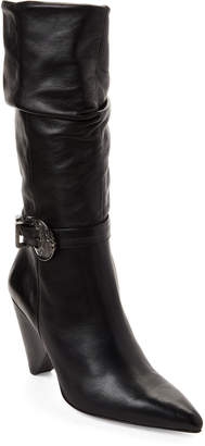 Gabriella Black Buckle Pointed Toe Leather Boots