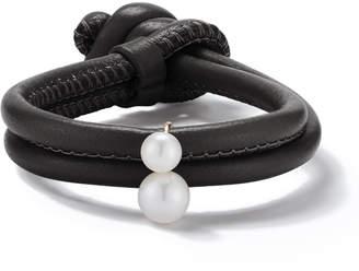 Mizuki Sea of Beauty Black Leather Wrap Bracelet with Pearls
