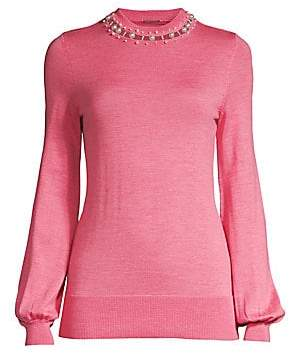 Elie Tahari Women's Sahar Embellished Merino Wool Sweater