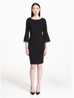 Calvin Klein circular lace bell sleeve sheath dress