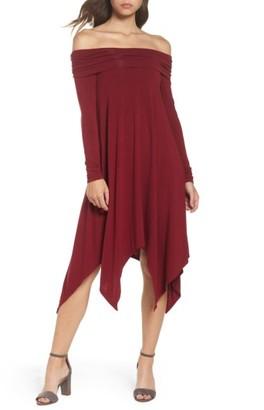 Women's Bcbgmaxazria Off The Shoulder Knit A-Line Dress