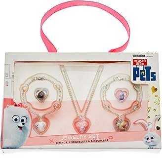 Secret Life of Pets 5 Piece Acrylic Snowball Neck Gidget Max Bracelet and 2 Ring Jewelry Set
