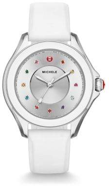 Michele Cape Multicolor Topaz, Stainless Steel& Silicone Strap Watch