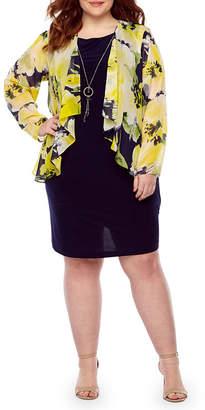 Tiana B Long Sleeve Jacket Dress-Plus