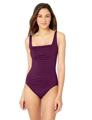 Calvin Klein Women's Pleated Front one Piece with Sewn in Cups