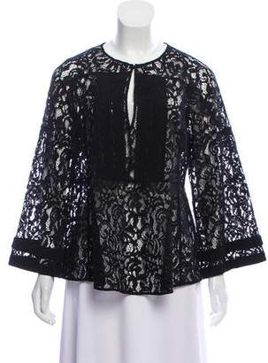 Burberry Guipure Lace Long Sleeve Blouse