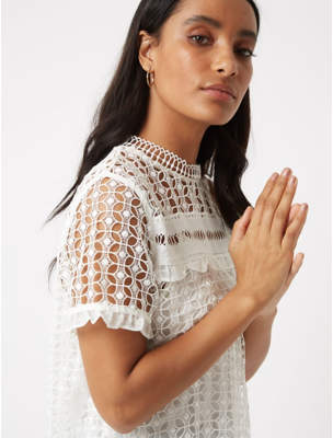 George White Lace Overlay Top