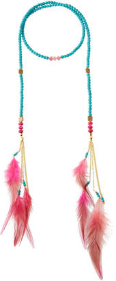 Nakamol Beaded Lariat Feather Necklace