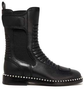 Alexander Wang Embellished Paneled Quilted And Textured-Leather Boots