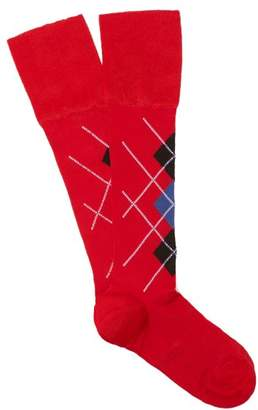 Versace Argyle Knitted Knee High Socks - Womens - Red Multi