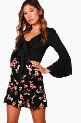 boohoo Floral Drop Hem Mini Skirt