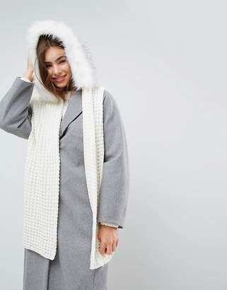 Urban Code Urbancode Oversized Knitted Scarf With Faux Fur Trim Hood