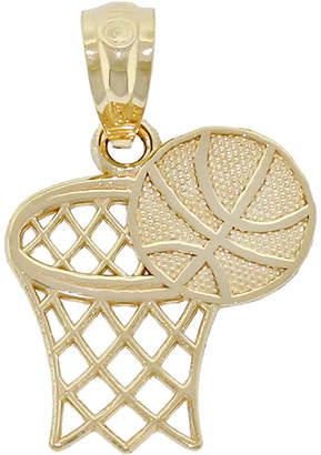 FINE JEWELRY 14K Yellow Gold Basketball Hoop Charm Pendant