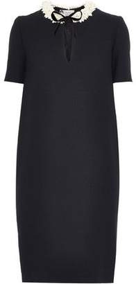 Lanvin Bow-detailed Faux Pearl-embellished Wool-crepe Dress