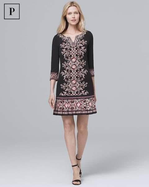 Whbm Embellished-Neckline Pleat-Hem Knit Shift Dress