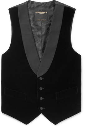 Favourbrook Black Slim-Fit Grosgrain-Trimmed Cotton-Velvet Waistcoat