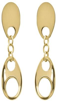 14K Gold Oval Disk Dangle Post Earrings