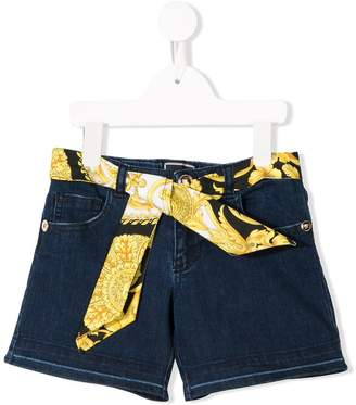 Versace belted denim shorts