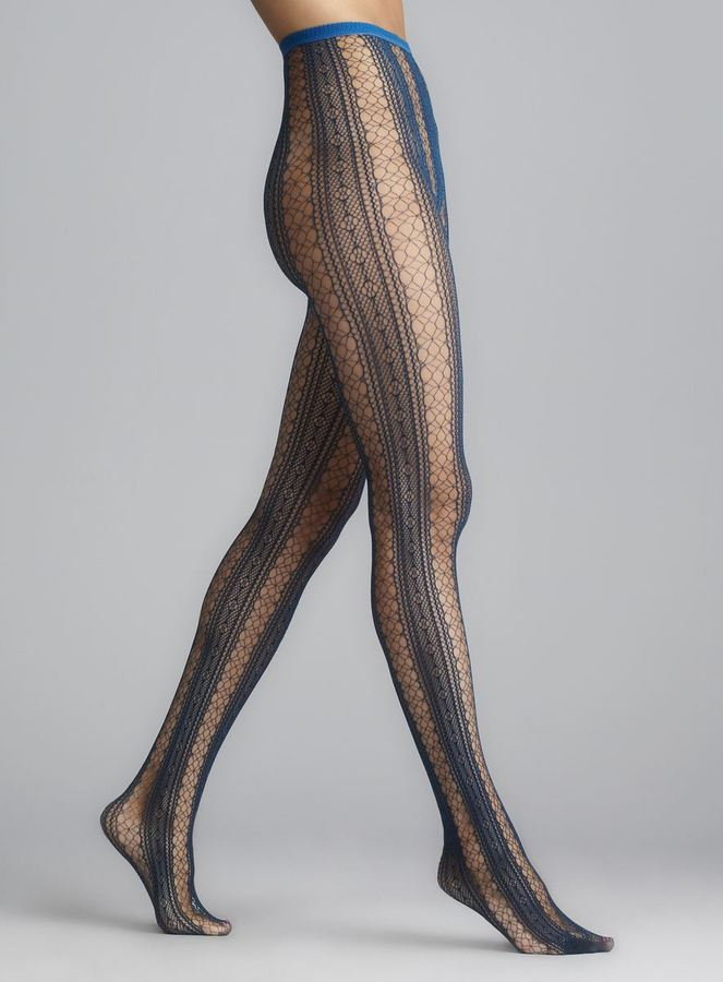 Me Moi Memoi Peacock Blue Epic Lace Net Tights
