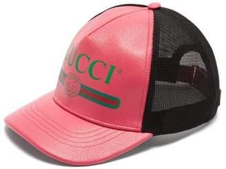 Gucci Logo Leather Cap - Womens - Fuchsia