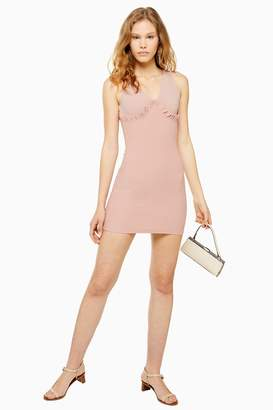 Topshop Womens Frill Ribbed Bodycon Dress - Blush
