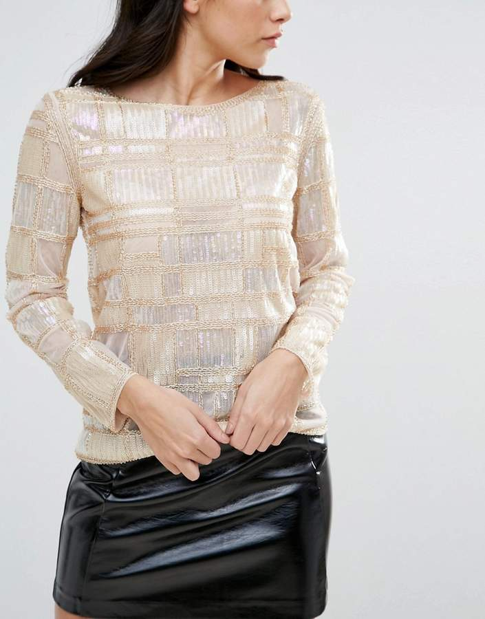 Endless Rose Long Sleeve Geometric Embellished Top