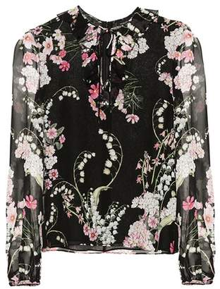 Giambattista Valli Floral-printed silk top