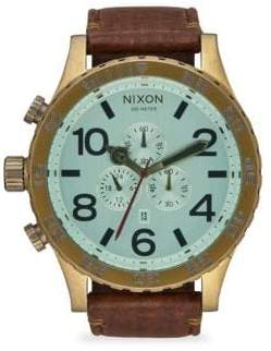 Nixon 51-30 IP Stainless Steel& Leather Chronograph Strap Watch