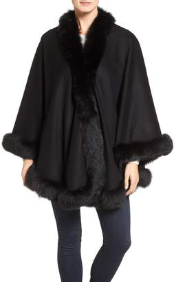 Belle Fare Genuine Fox Fur Trim Cashmere Cape