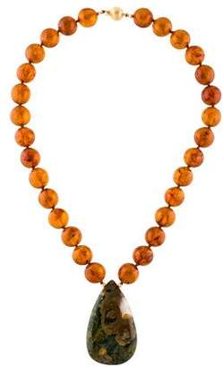 Amber Bead & Agate Pendant Necklace