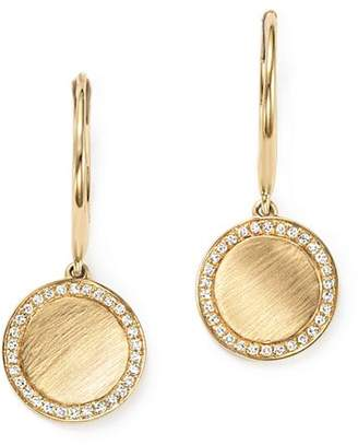 KC Designs Diamond Disc Drop Earrings in 14K Yellow Gold