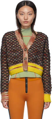 M Missoni Red Cropped Knit Cardigan