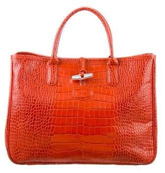 Longchamp Roseau Embossed Leather Tote