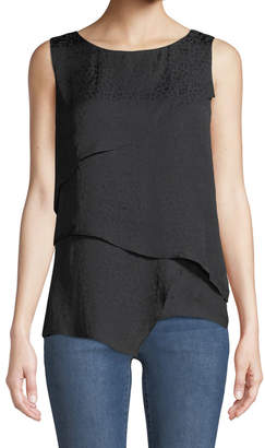 Iconic American Designer Asymmetric Tiered Animal-Jacquard Tank