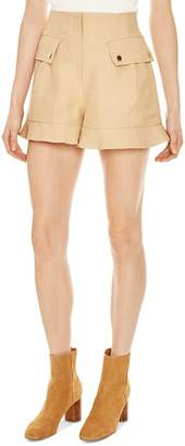 Sandro Yann Ruffled Safari-Inspired Mini Shorts