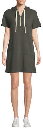 Monrow Star-Print Hood Short-Sleeve Sweatshirt Dress