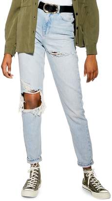 Topshop Bleached Mom Jeans 32-Inch Leg
