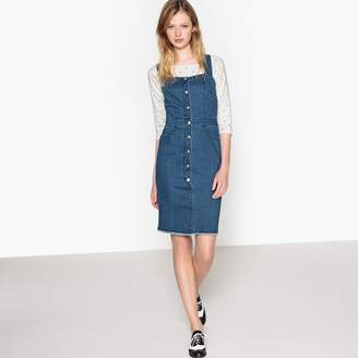 La Redoute Collections Denim Pinafore Dress with Buttoned Front