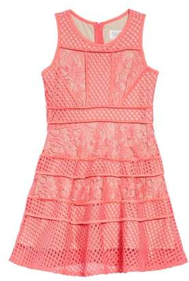 Blush by Us Angels Lace & Mesh Tiered Dress