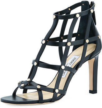 Jimmy Choo Tina 85mm Studded Leather Cage Sandal