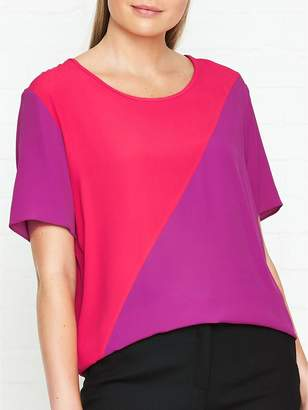 Paul Smith Silk Colour Block Top - Pink/Red