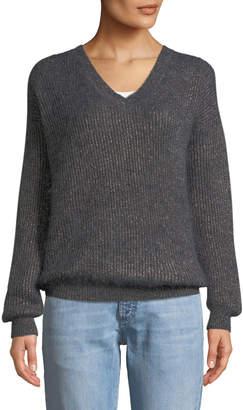 Brunello Cucinelli V-Neck Long-Sleeve Metallic Mohair-Alpaca Blend Sweater