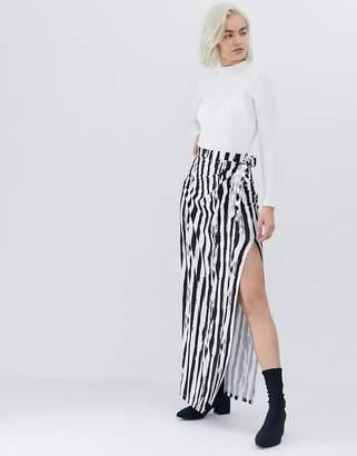 Asos Design DESIGN wrap maxi skirt in mono stripe print
