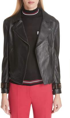 Fendi Leather Jacket with Faux Fur Logo Cuffs